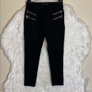 Zara Black Double Zipper Leggings Pants